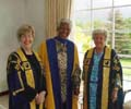 Nelson Mandela after receiving honorary degree