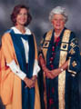 Dr Rachel Hinton with OU Chancellor Betty Boothroyd