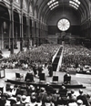 The OU's first degree ceremony at Alexandra Palace in 1973