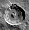 Kuniyoshi, a fresh crater on Mercury that is less than a billion years old, with volcanic vents in its rim and wall (white arrows). [Image data courtesy of NASA/Johns Hopkins University Applied Physics Laboratory/Carnegie Institution of Washington]