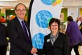 Alan  Burrell and Debbie Wilson launch the OU's Living Wage