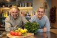 The OU's Prof David Shuker, left, and chef Paul Merrett