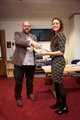 Kirsty Knott receiving her award from Dean of Social Sciences